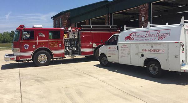 Precision Diesel Repair Truck Beside Fire Truck